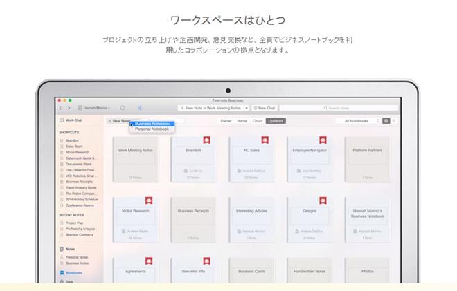 Evernote Businessでの作業イメージ。複数人が同じワークスペースでリアルタイムでコラボレーション可能(Evernoteのサイトより)
