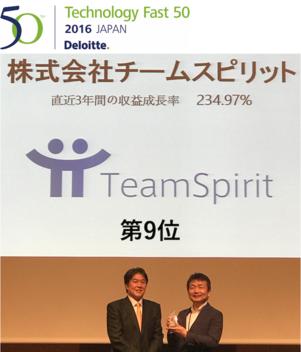 セールスフォース社AppExchange Partner of the yearのチームスピリットが<br>第14回「デロイト トウシュ トーマツ リミテッド 日本テクノロジー Fast50」で9位を受賞
